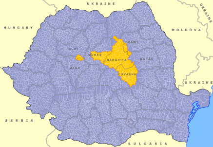 Location of Szekely land in Romania. [Source: Wikipedia]