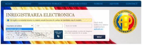 Înregistrarea electronică pe pagina Agenţiei Electorale Permanente