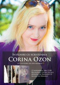 Afişul întâlnirii dintre scriitoarea Corina Ozon şi cititorii români din zona Madrid