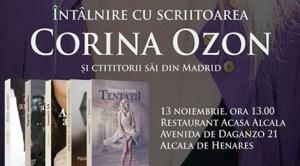 Scriitoarea Corina Ozon, autoarea trilogiei «Amanţii», se întâlneşte cu românii iubitori de literatură din zona Madrid