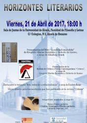 Afiş Orizonturi literare - 21 aprilie 2017