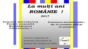La Mulţi Ani Românie! 2017, concurs de micrometraje cu tema Ziua României organizat de Federația Asociațiilor de Români din Andaluzia