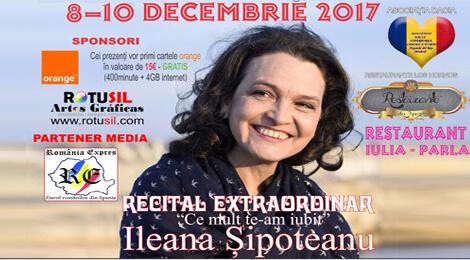 Cântăreaţa Ileana Şipoteanu va susţine în perioada 8-10 decembrie o serie de concerte la Madrid