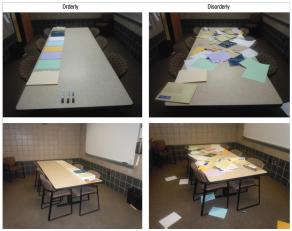 Foto 2. Condițiile experimentale: ambient ordonat (stânga) și ambient dezordonat (dreapta)