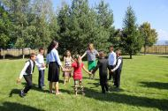9.14.14 After the linger longer after church, playing tag with the children