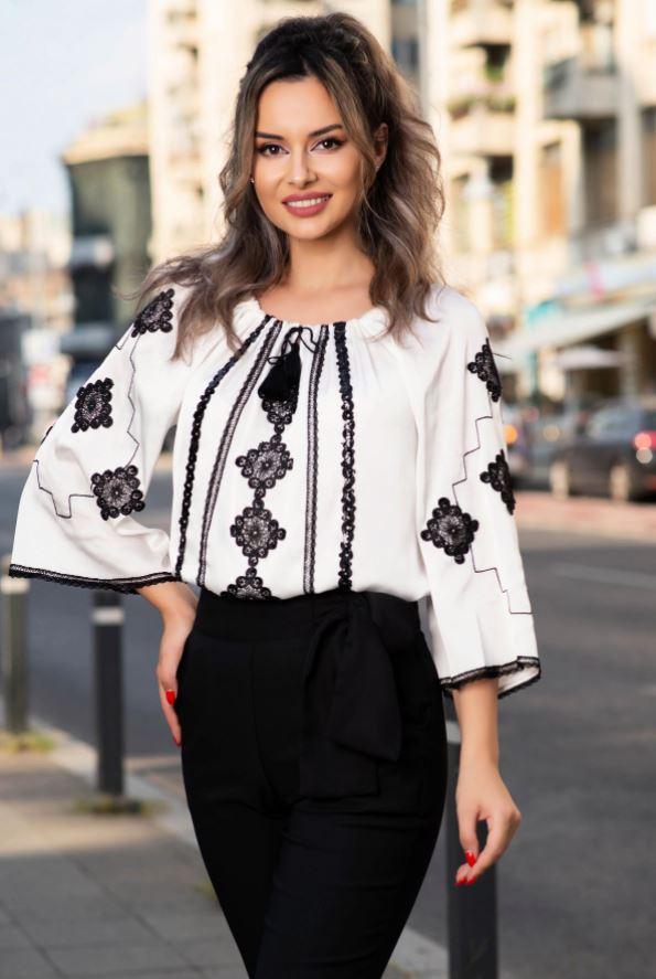 bluze tip ie elegante alb cu negru