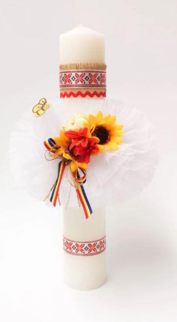 Lumanare botez stil traditional romanesc