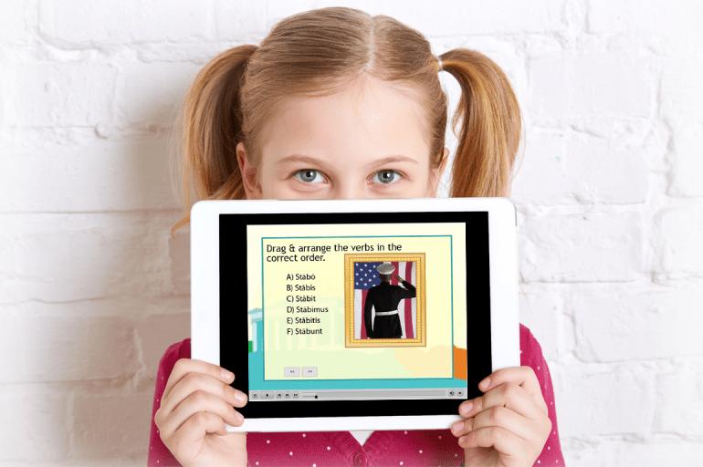 Girl with iPad (1) Latin lesson