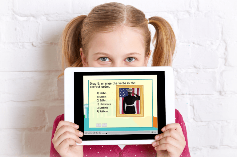 Girl with iPad (1) Latin lesson