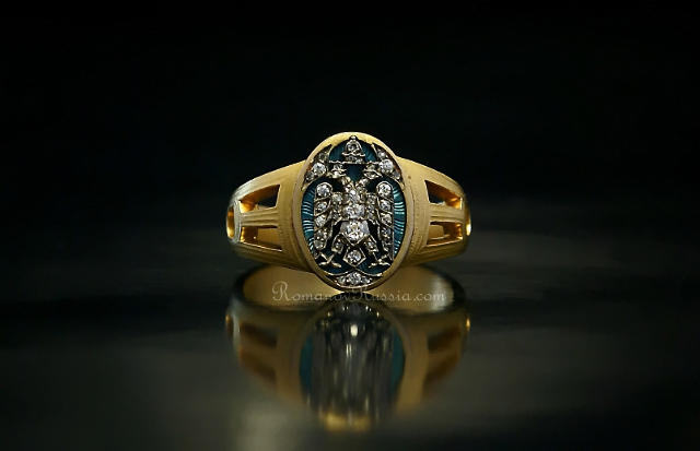 FABERGE Russian Imperial Eagle Mens Ring 1915 Antique