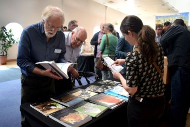 SGRP members perusing the bookstalls (photo: Kate Brady)