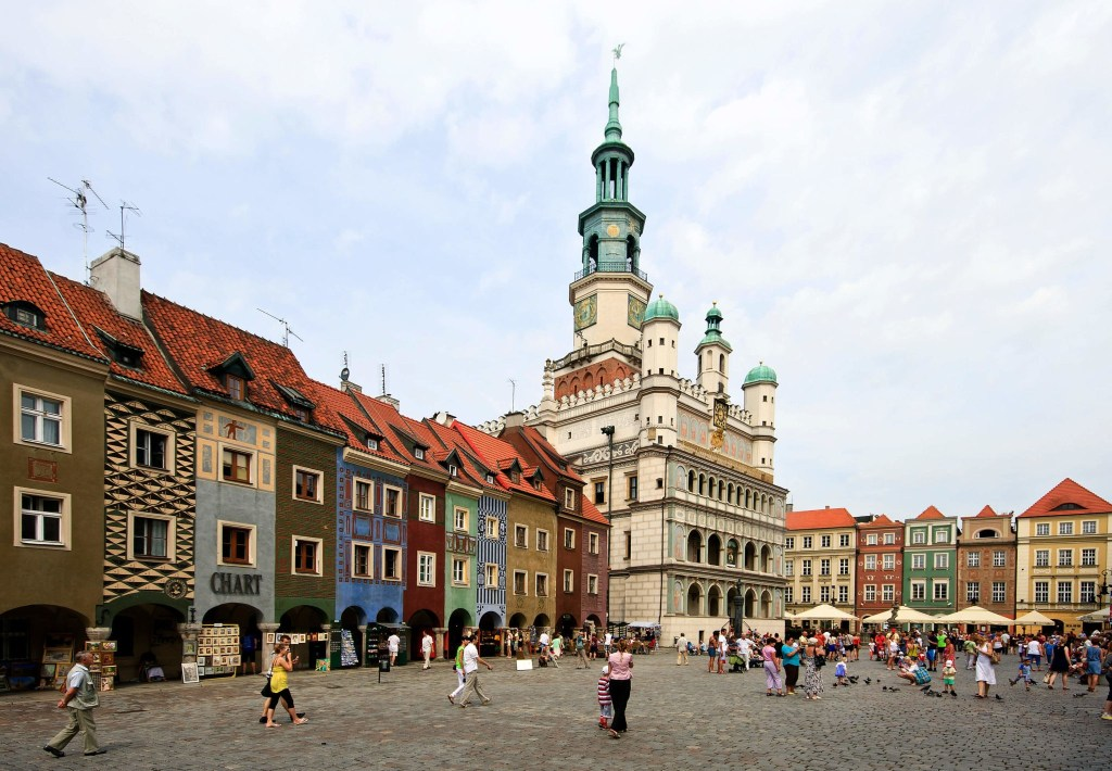 City hall in Poznan and the old market