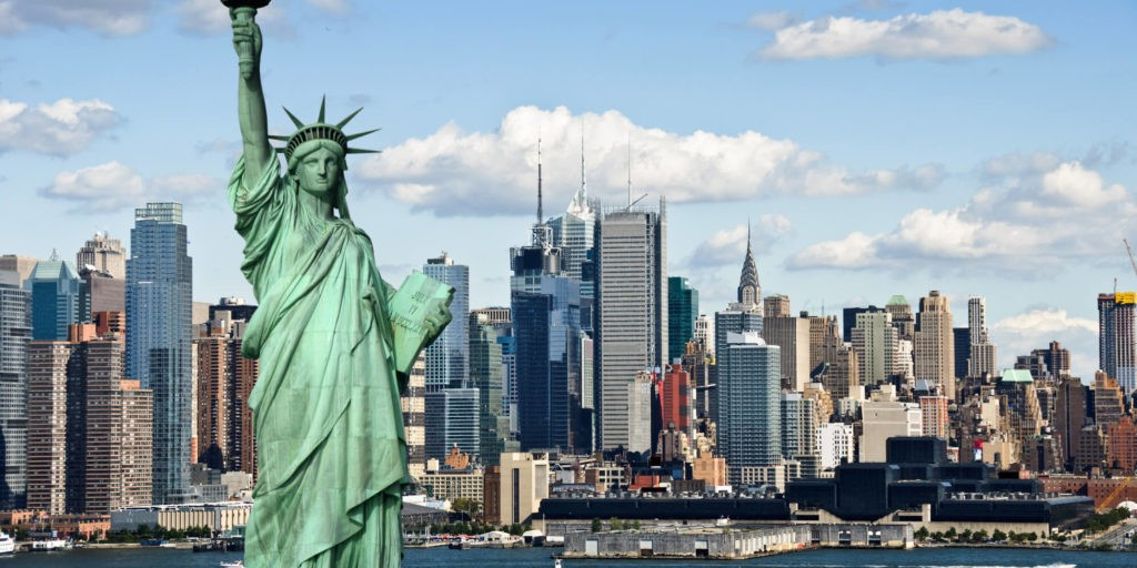 Statue of LIberty and NYC view