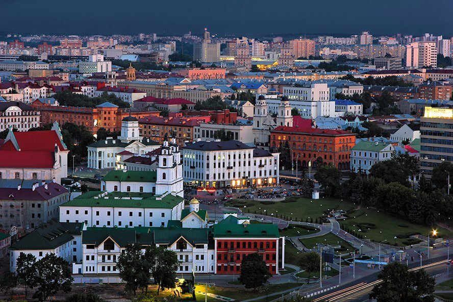 Historical center of Minsk at night, cheapest european city by backpacker index