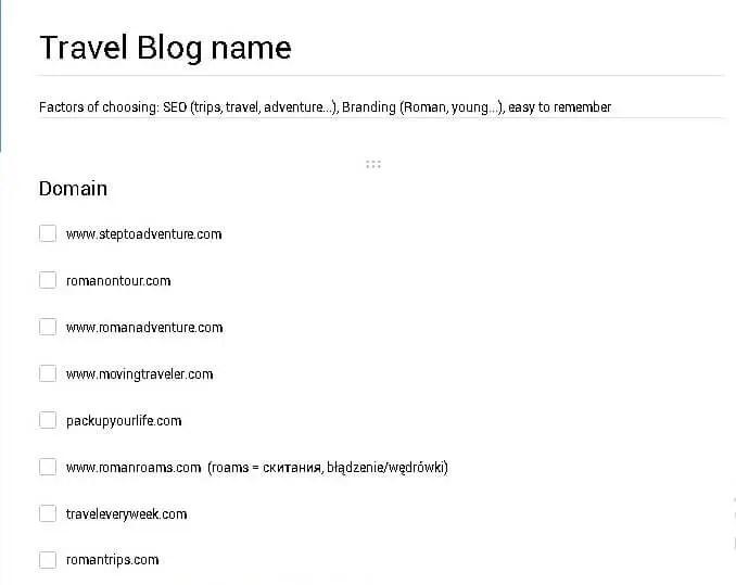 List of good travel blog names