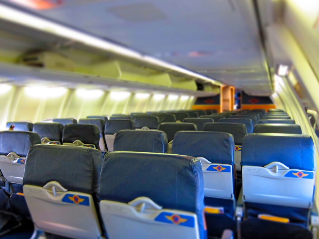 inside the plane of low cost airline