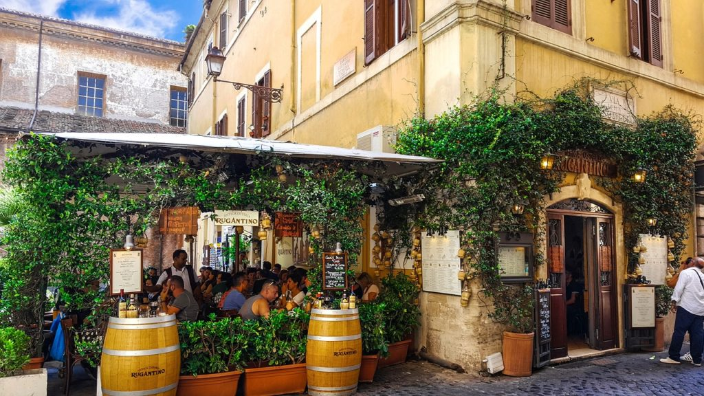 Restaurant in the Trastevere district, 3 days in Rome for 150 euros