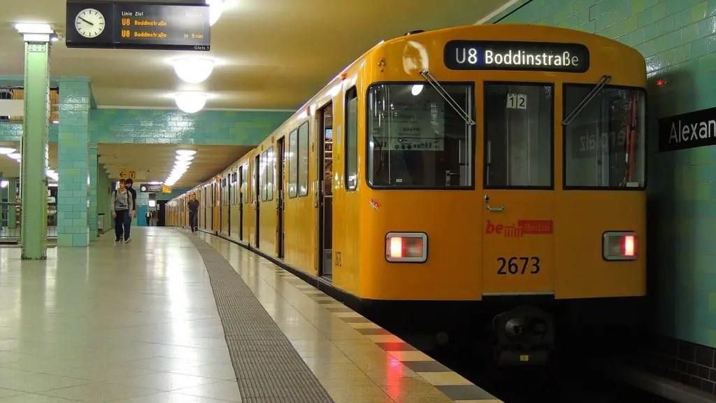 Metro train in Berlin, Alexanderplatz