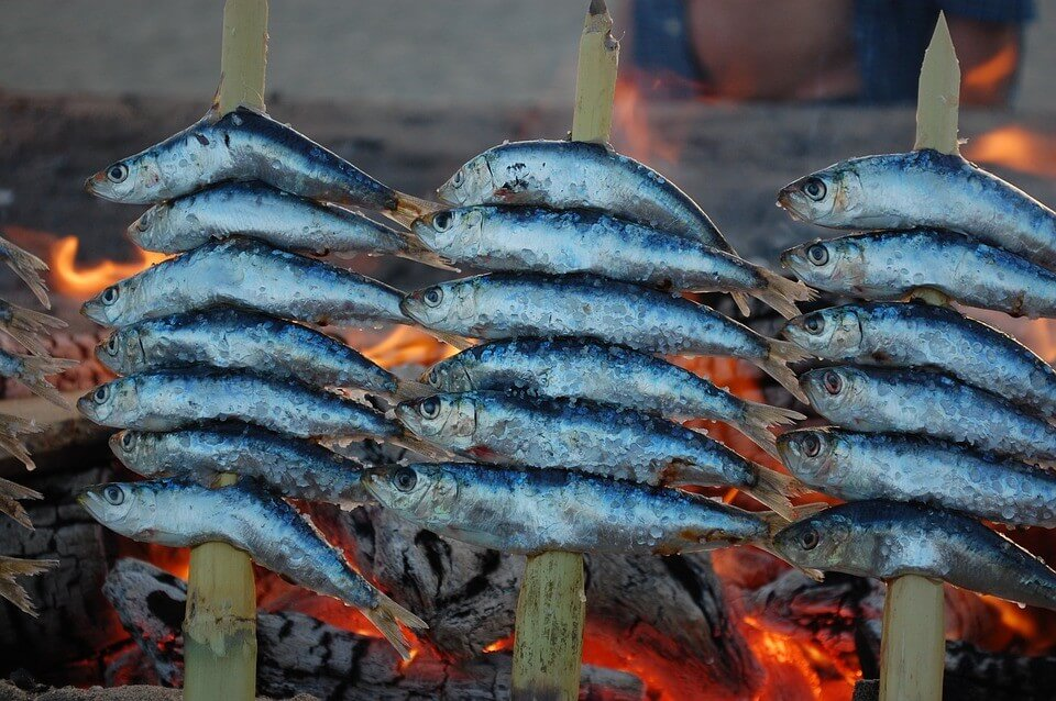 Sardines on the fire grilling in Malaga