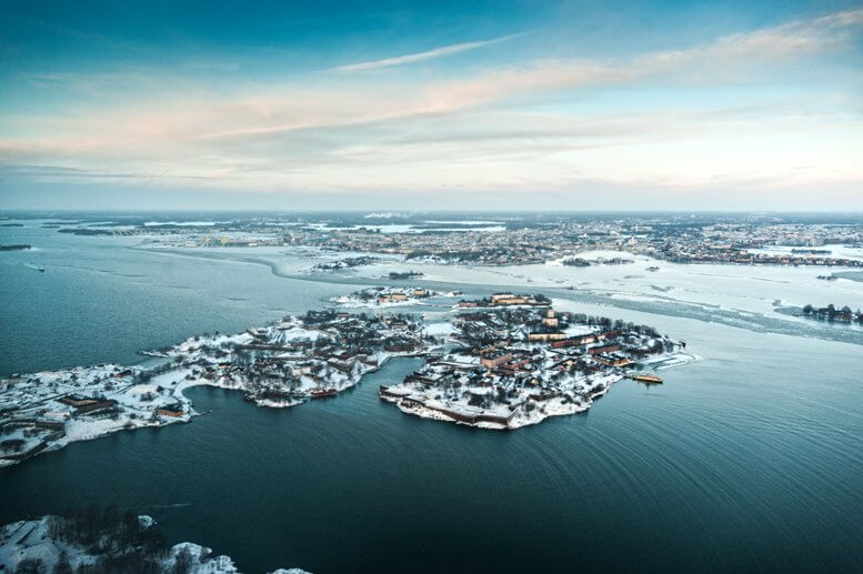 View of Helsinki from helicopter, winter