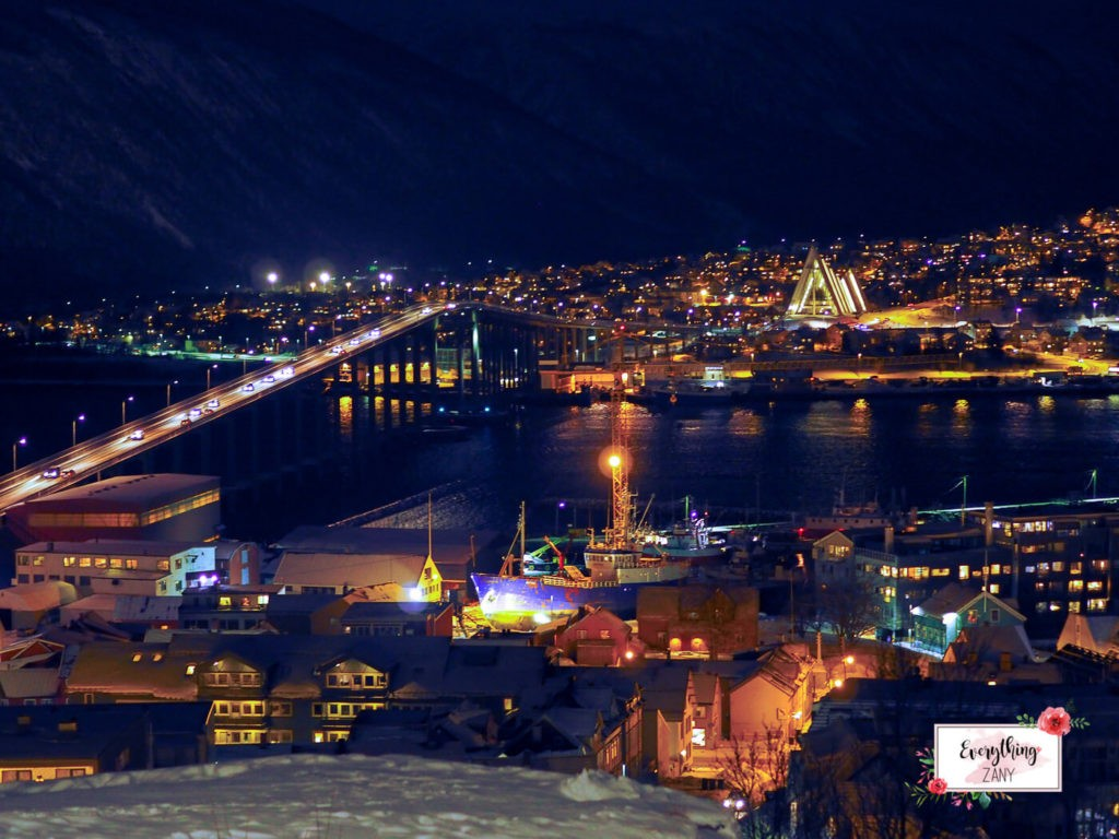 Tromso, Norway city at night, Winter destination