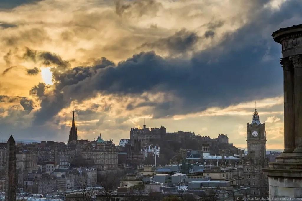 Закат в Эдинбурге, города европы для посещения зимой