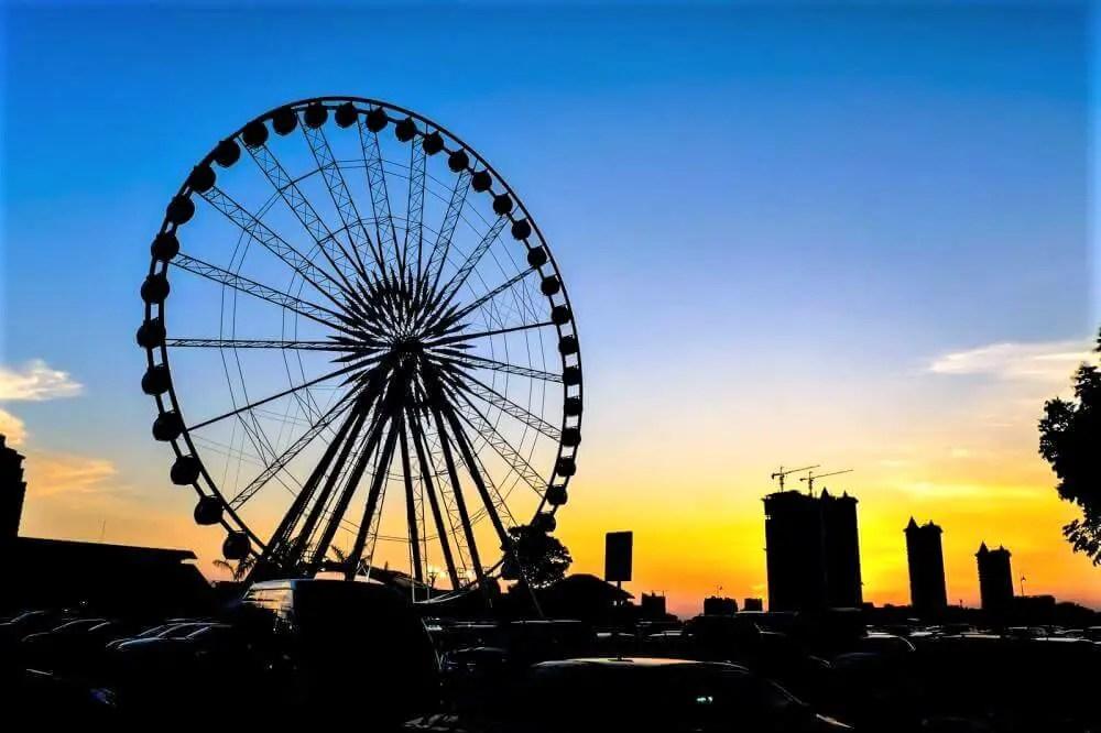 Ferris Wheel in Bangkok on sunset, Thailand