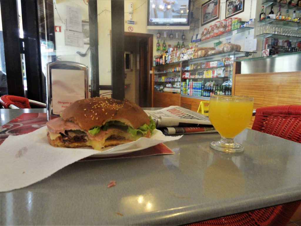 burger and poncha in a bar in Madeira village