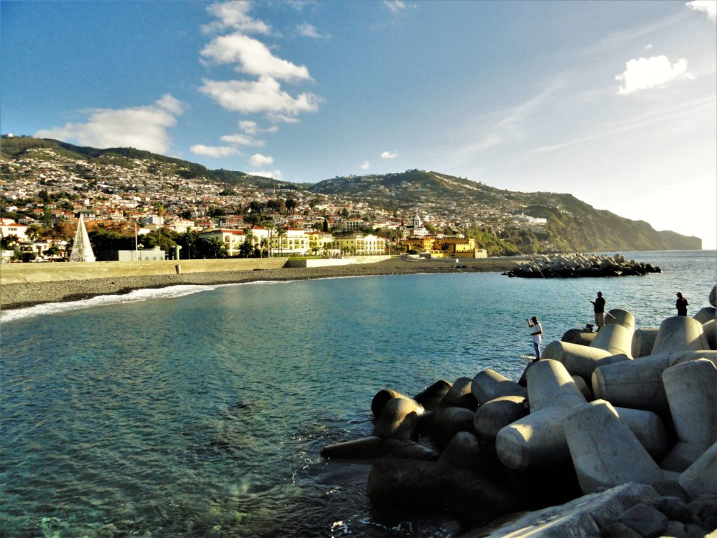 Coast of Funchal, fishermen in Madeira