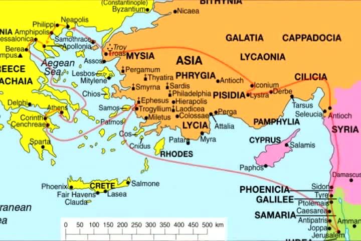 Maps: The Apostle Paul's 3 apostolic journeys  (2/2)