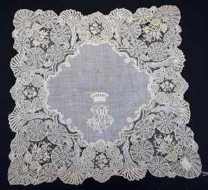 Handkerchief with ornate monogram