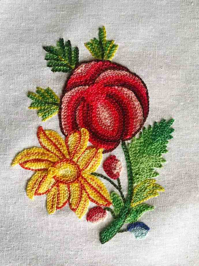 First sample of crewel tambour embroidery