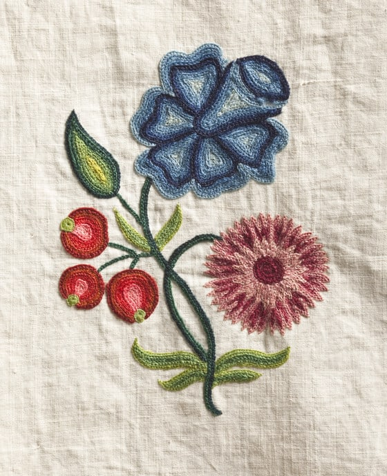 Crewelwork Linen Gown Planning & Materials - the individual embroidery motifs