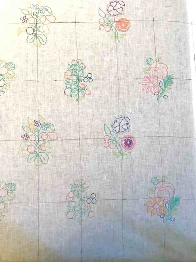 Crewelwork Linen Gown Planning & Materials - first panel of motifs as a sample