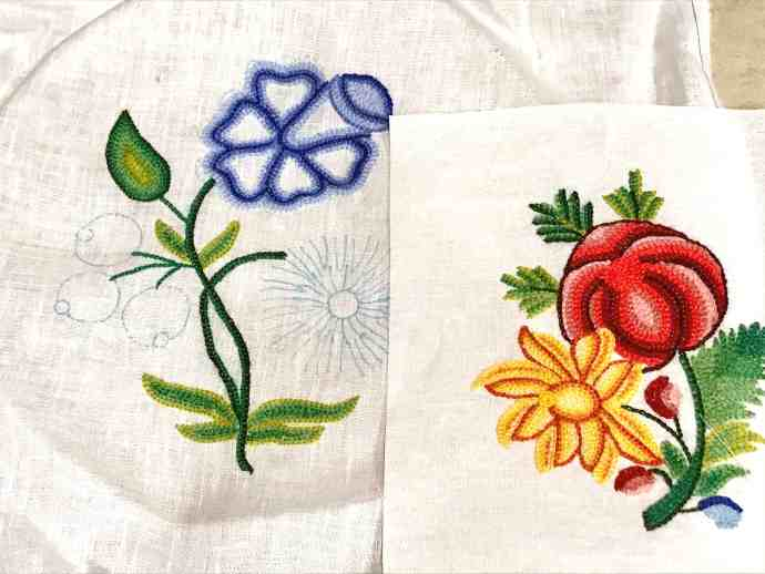 Crewelwork Linen Gown Samples
