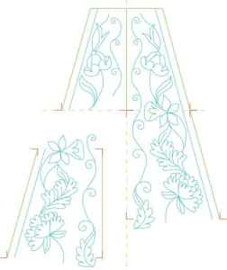 Matching embroidery borders  -  irregular nested pieces with alignment markings.