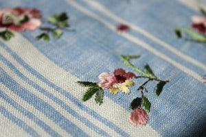Striped linen waistcoat test stitch