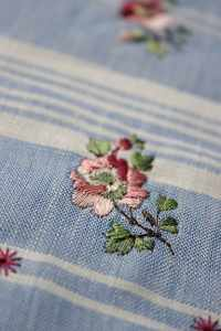 Striped linen waistcoat test stitch.