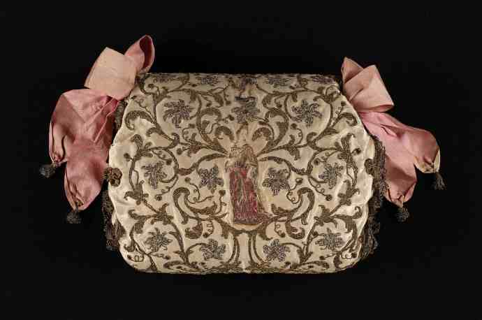 Late 17th c embroidered muff