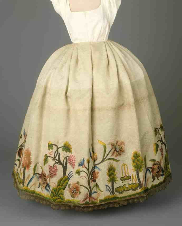 Early 18th c embroidered petticoat