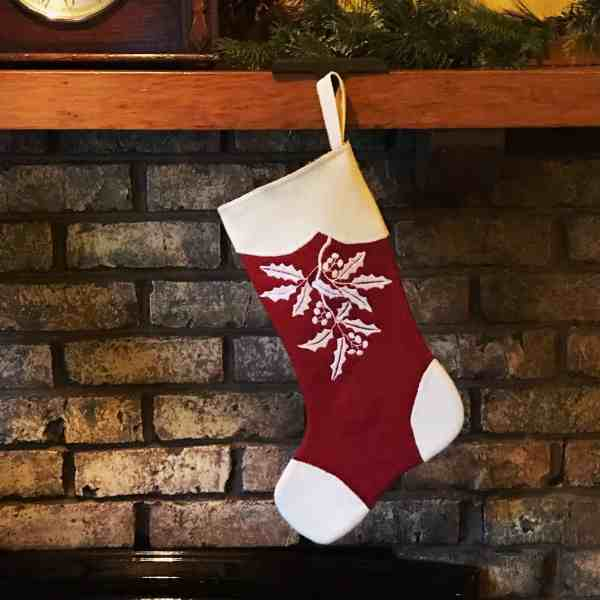 embroidered holly stocking