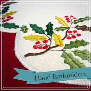 embroidered holly table runner