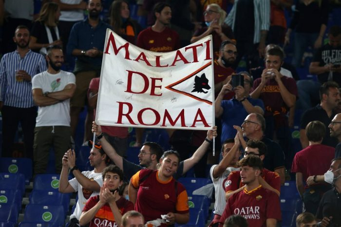 Italy: AS Roma vs US Sassuolo Rome, Italy September 12 2021. a view of a supporter banner during the Serie A TIM match b