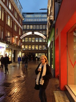 Author Romarin Demetri drinking chocolate on Carnaby Street.
