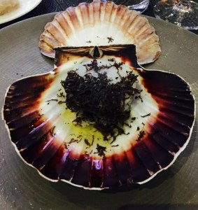 Truffle Scallop in his Shell served at the Black Truffle Dinner.