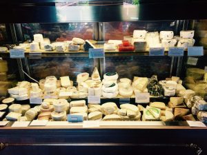 Atelier by JCB's display of gourmet cheeses from around the world.