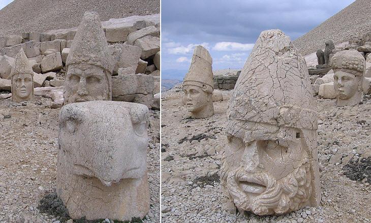 Terraza occidental: las cabezas de los dioses