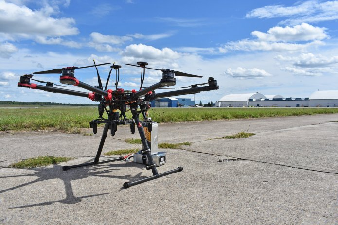 ON THE FOREFRONT —A drone sits on the runway at the Griffiss Business and Technology Park in this file photo. Live flights are set to begin this month at the Griffiss test site, one of two sites selected nationally, in the second phase of a federal program to develop a high-density air traffic control system for drones.