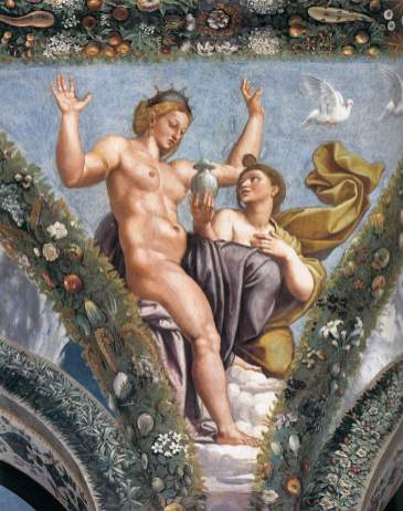 Venus and Psyche, Giulio Romano after Raphael's design, Psyche Loggia in Villa Farnesina, Rome