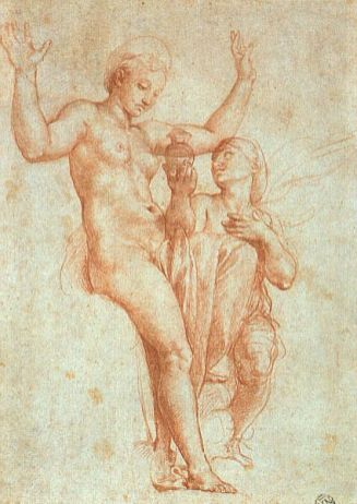 Venus and Phyche, sketch by Raphael for Psyche Loggia in Villa Farnesina, Rome. Musée du Louvre, Cabinet des dessins
